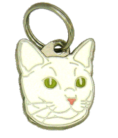 RUSSIAN WHITE CAT - pet ID tag, dog ID tags, pet tags, personalized pet tags MjavHov - engraved pet tags online